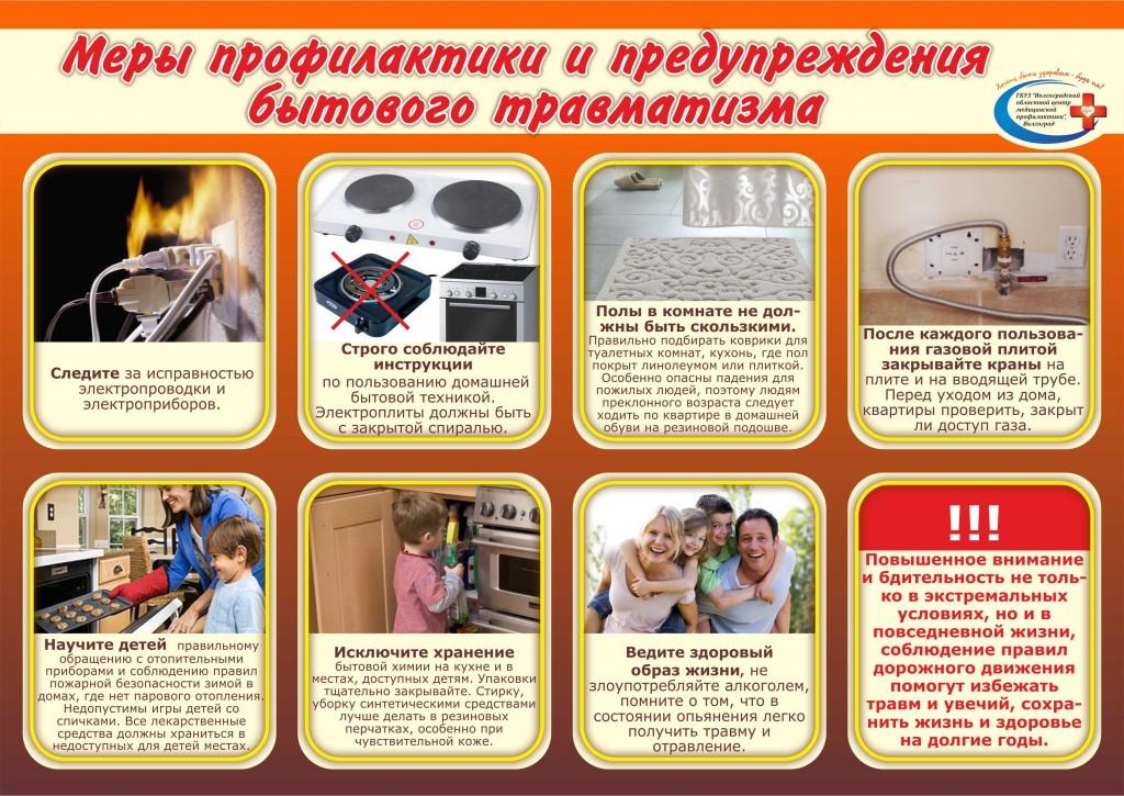 Плакат Меры профилактики и предупреждения бытового травматизма